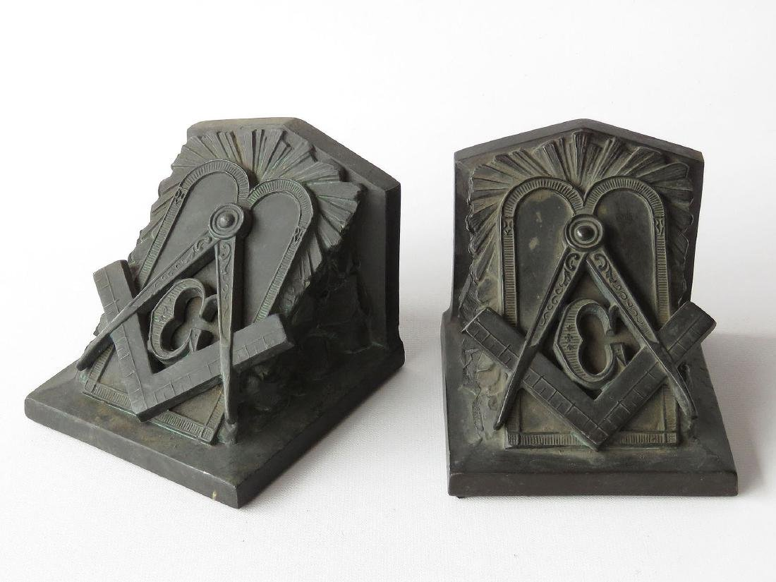 PR. FREEMASON BOOKENDS, SIGNED L.V. ARONSON  1922