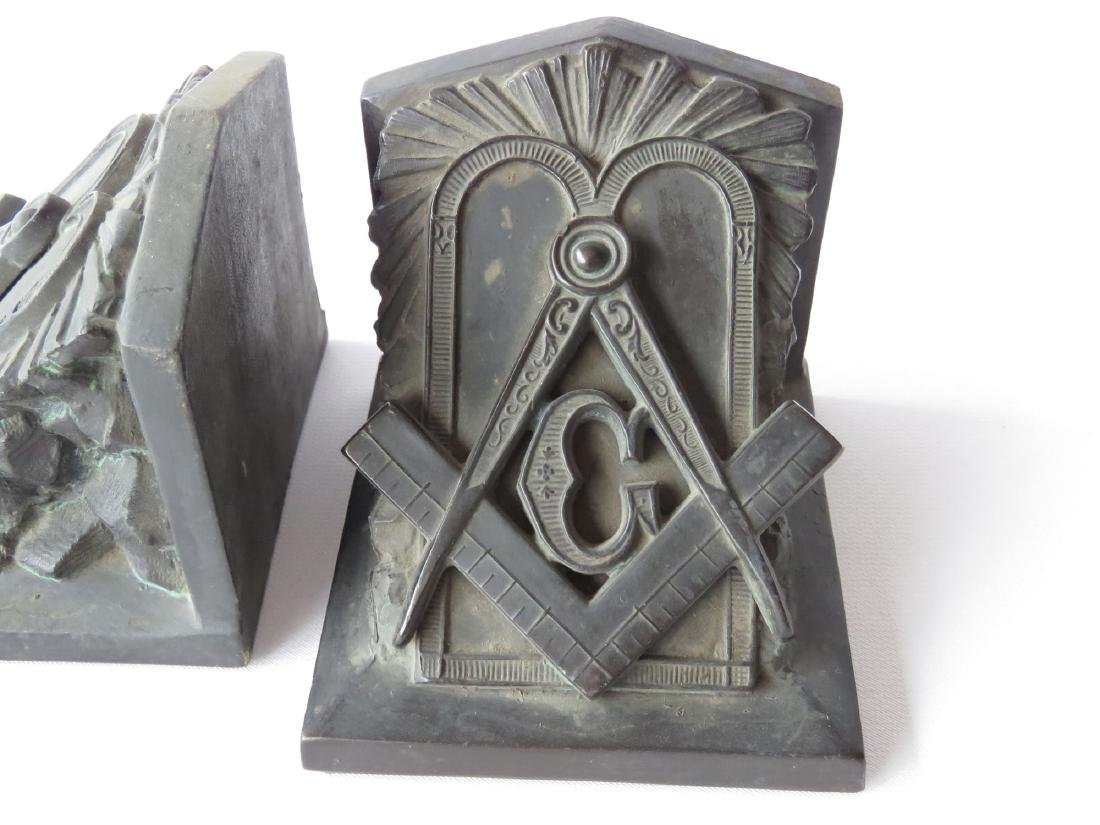 PR. FREEMASON BOOKENDS, SIGNED L.V. ARONSON  1922 - 2