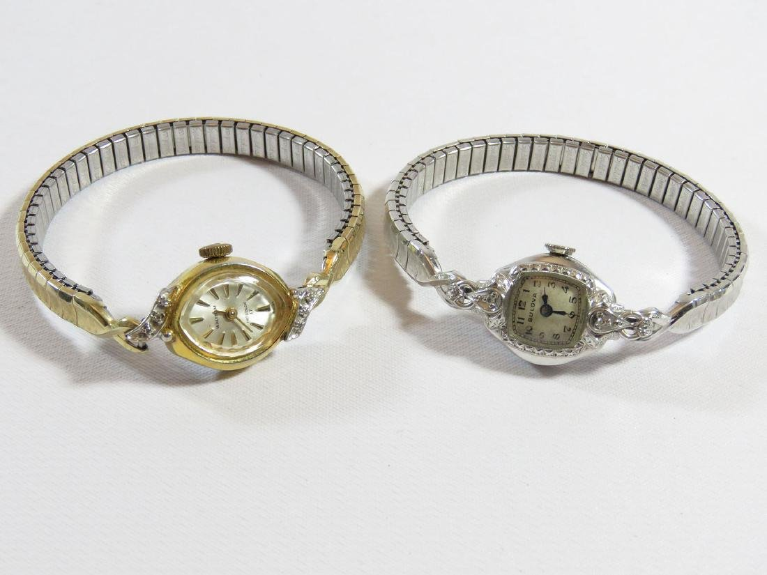 (2) VINTAGE LADIES WATCHES; BULOVA 14K/DIAMOND