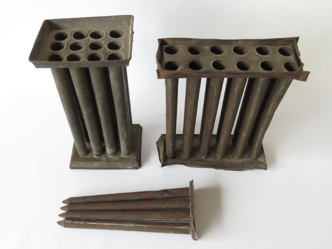 LOT (3) COUNTRY TIN CANDLE MOLDS 19TH C. - 2