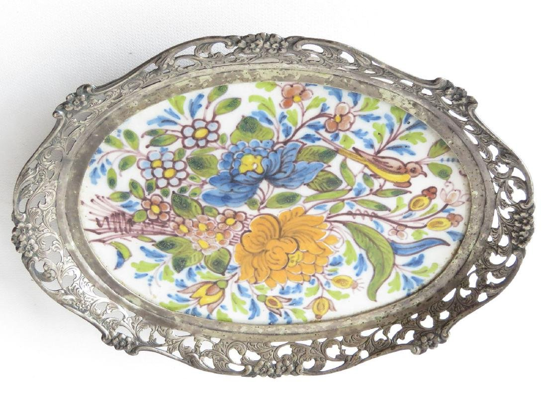 FRENCH FAIENCE ENAMEL/LONDON STERLING CARD TRAY