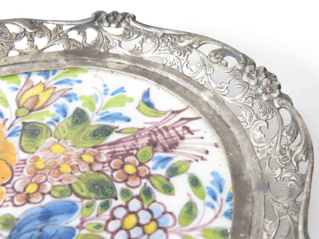 FRENCH FAIENCE ENAMEL/LONDON STERLING CARD TRAY - 2
