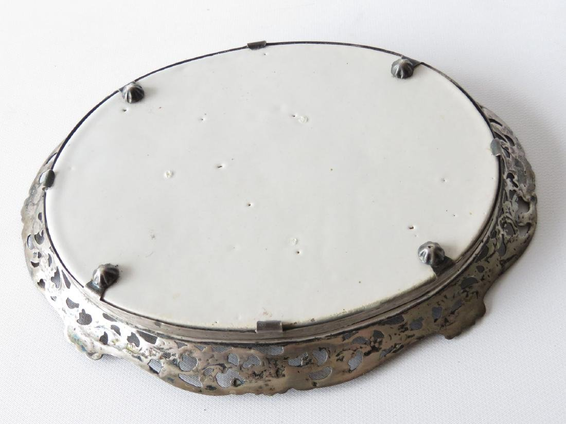FRENCH FAIENCE ENAMEL/LONDON STERLING CARD TRAY - 3