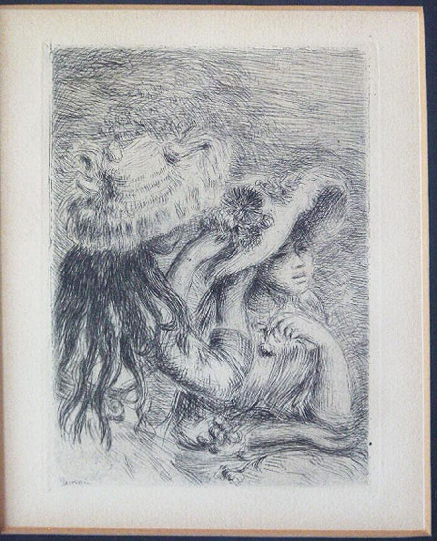 ETCHING, SIGNED IN PLATE RENOIR, (THE HAT PINNED)