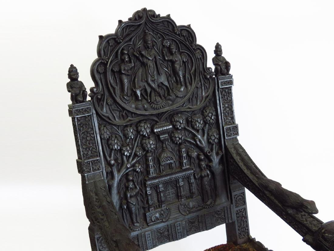 INDIA ROYAL COURT ROSEWOOD THRONE 18/19TH C - 2