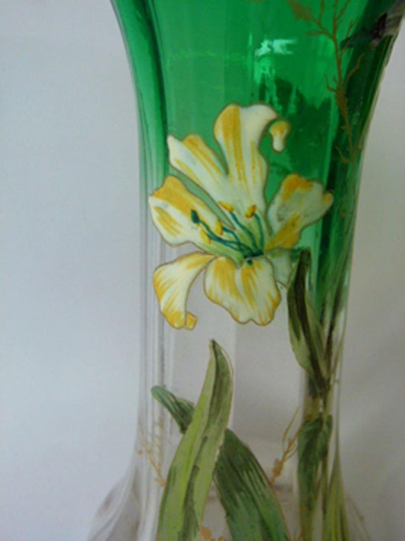 FRENCH ENAMELED GLASS VASE IRIS'S UNSIGNED 19TH C. - 3