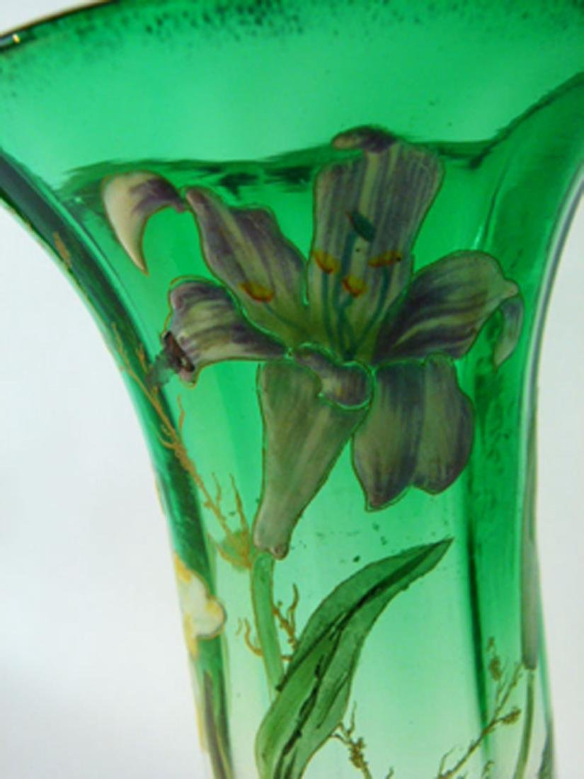 FRENCH ENAMELED GLASS VASE IRIS'S UNSIGNED 19TH C. - 4