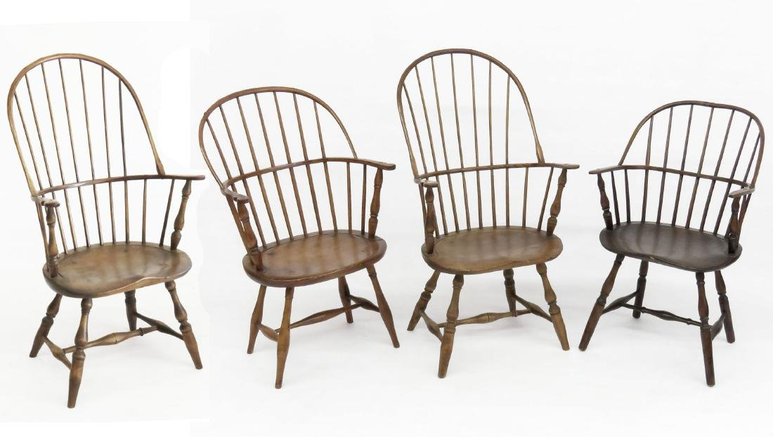 LOT 4 NEW ENGLAND STYLE SACK BACK WINDSOR CHAIRS