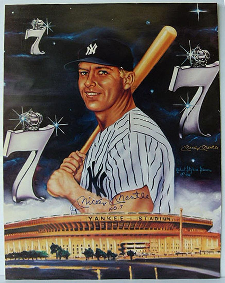 AUTOGRAPHED POSTER SIGNED MICKEY MANTLE #7 C.1986