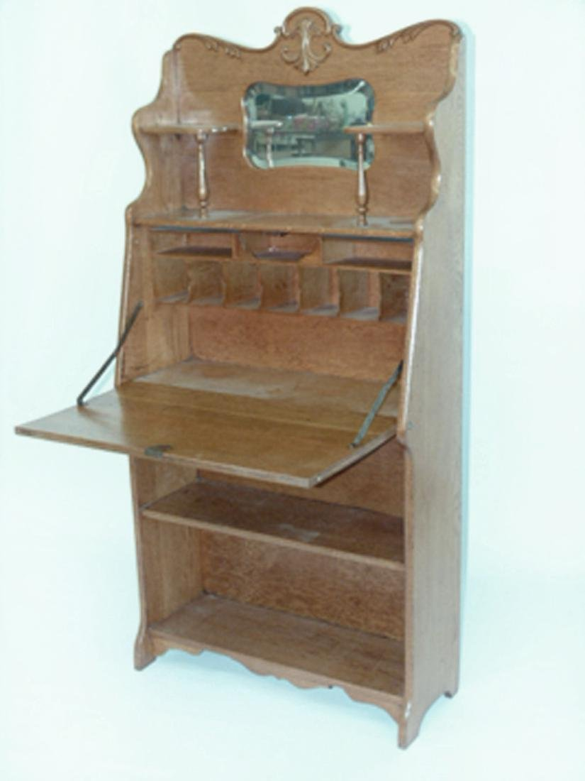 VICTORIAN OAK DROP FRONT DESK C. 1890/1910 - 3