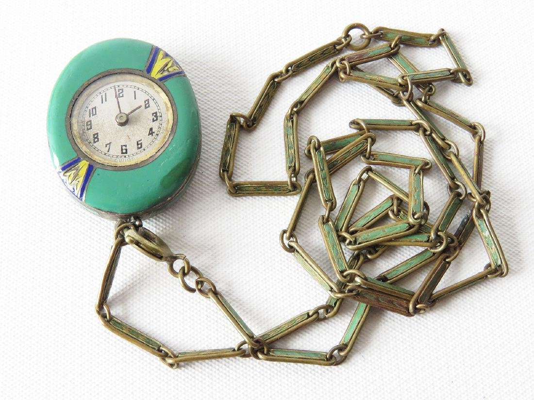 DECO MIMO SWISS ENAMELED SILVER PENDANT WATCH