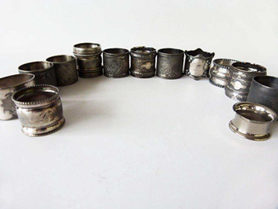 LOT ASSORTED VICTORIAN NAPKIN RINGS 19TH C.