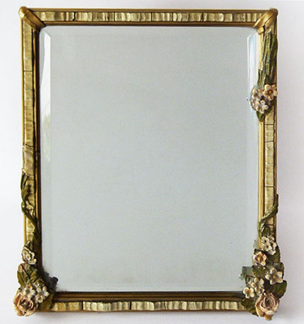 FRENCH GESSO BEVELED MIRROR DRESSER FRAME 1920