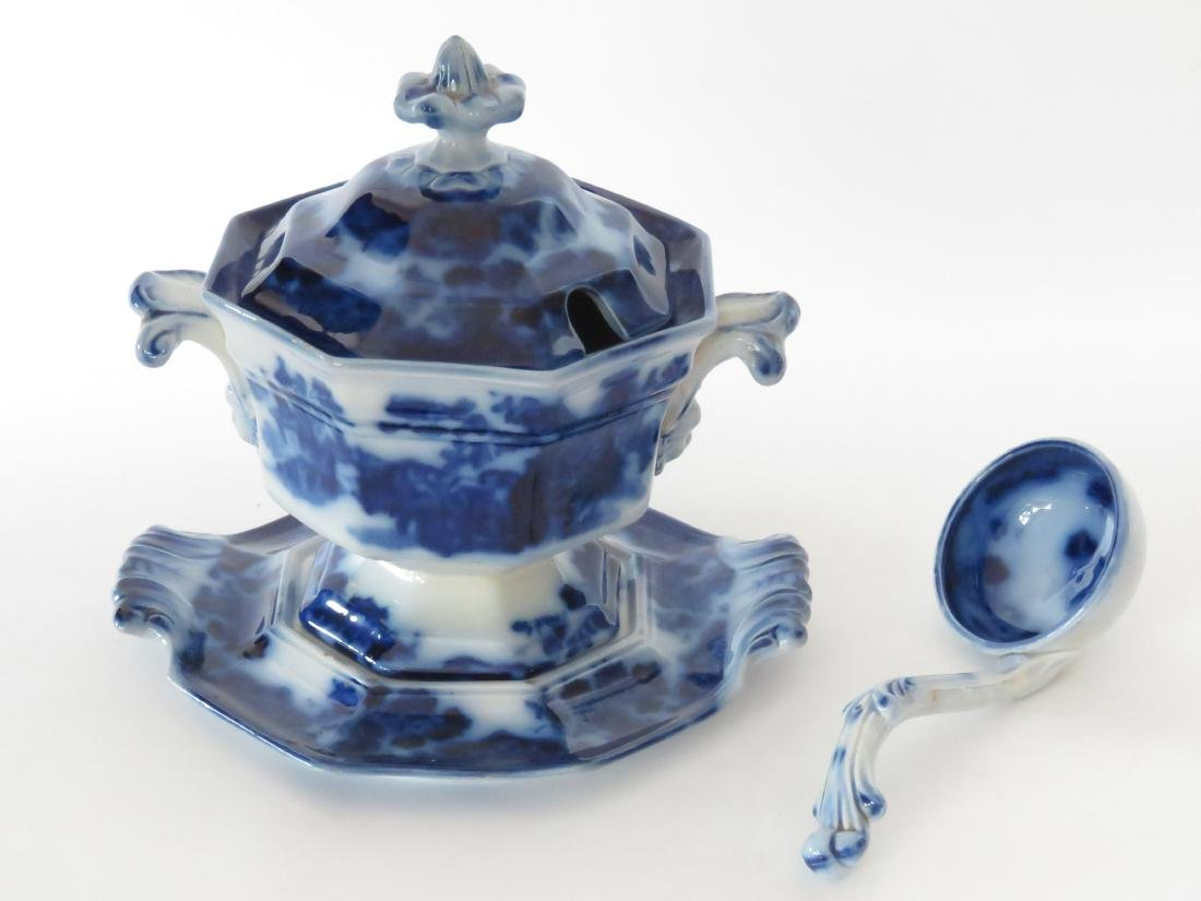 "FLOW BLUE ""SOBRAON"" PATTERN COVERED SAUCE TUREEN"