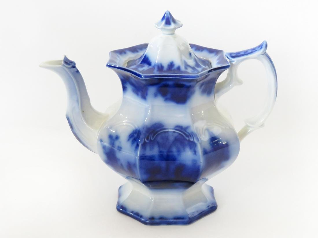 ORIENTAL STONE FLOW BLUE COFFEE POT SCINDE PATTERN