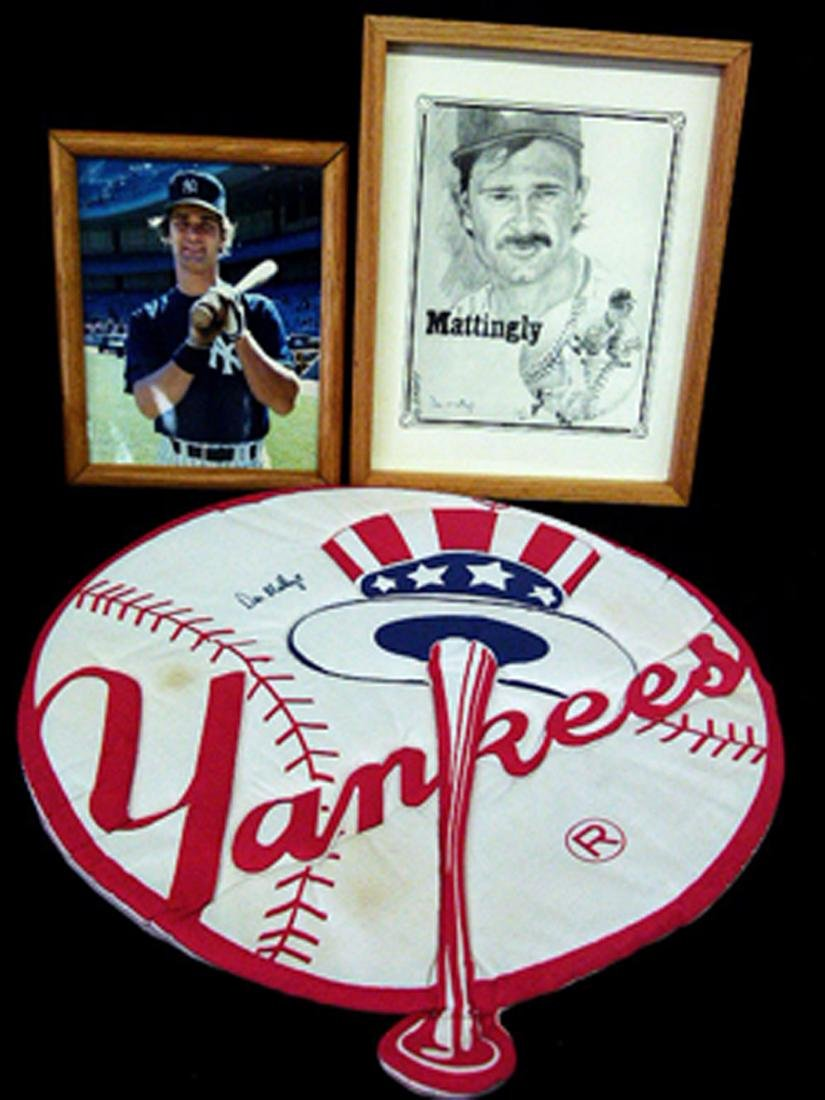 3 INCL 2 AUTOGRAPHED DON MATTINGLY/AMORE PRINT