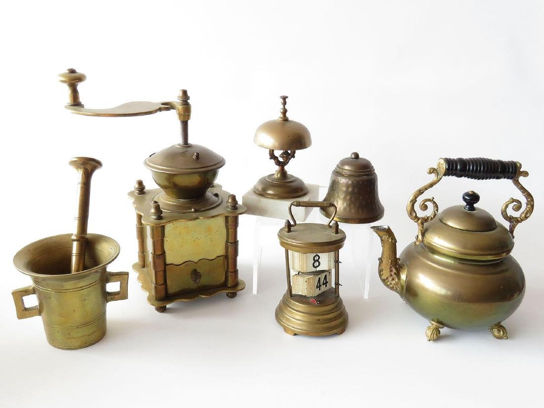 6 ASST BRASS INCL. COFFEE GRINDER, COUNTERBELL, ETC.