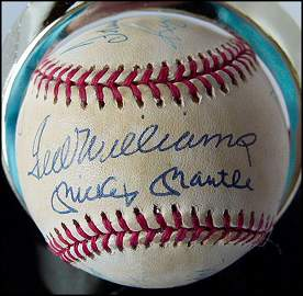 500 HOME RUN BASEBALL, 11 AUTOGRAPHS, MANTLE, ETC