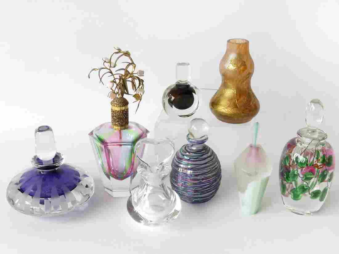 8 CONTEMPORARY ART GLASS PERFUME BOTTLES