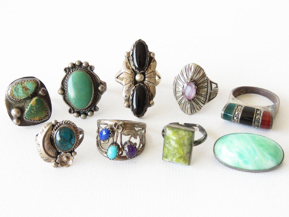 9 AMERICAN INDIAN/MEXICAN SILVER RINGS C. 1950/60