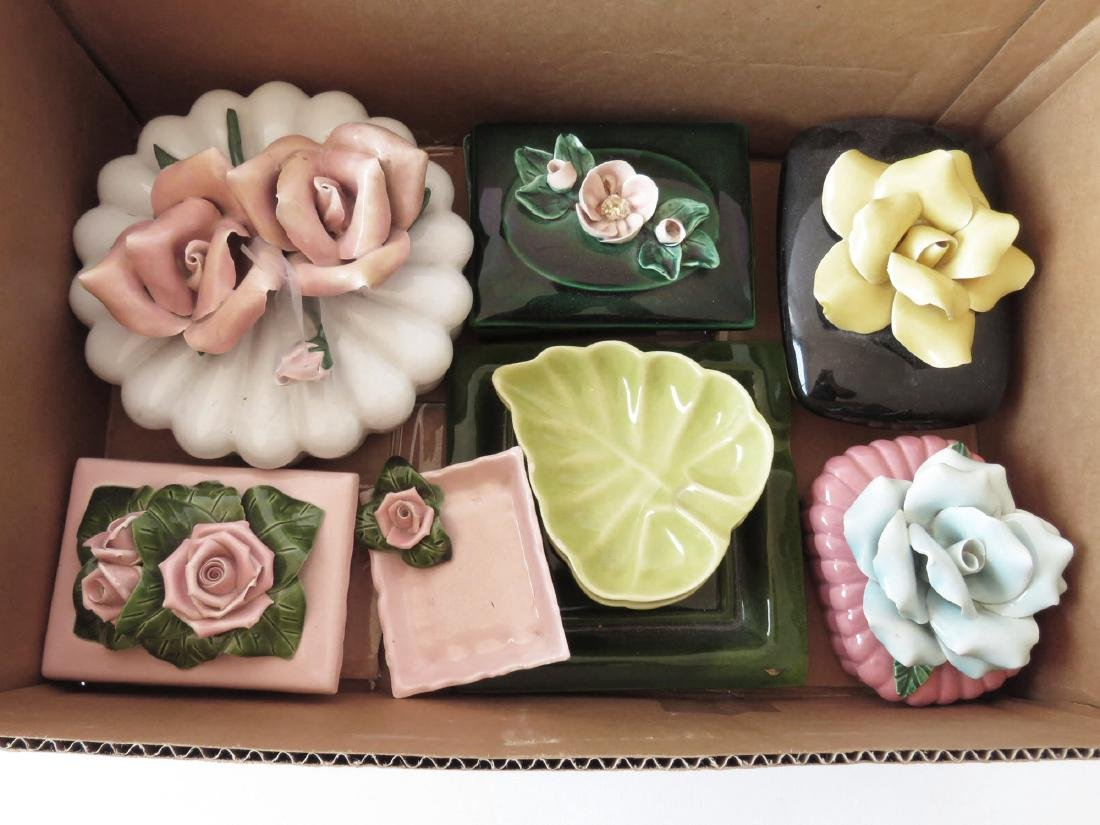LOT ASST CALIFORNIA POTTERY FLORAL DECORATED BOXES