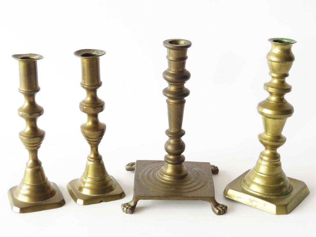 LOT (4) FEDERAL BRASS CANDLE STICKS 19/20TH C.