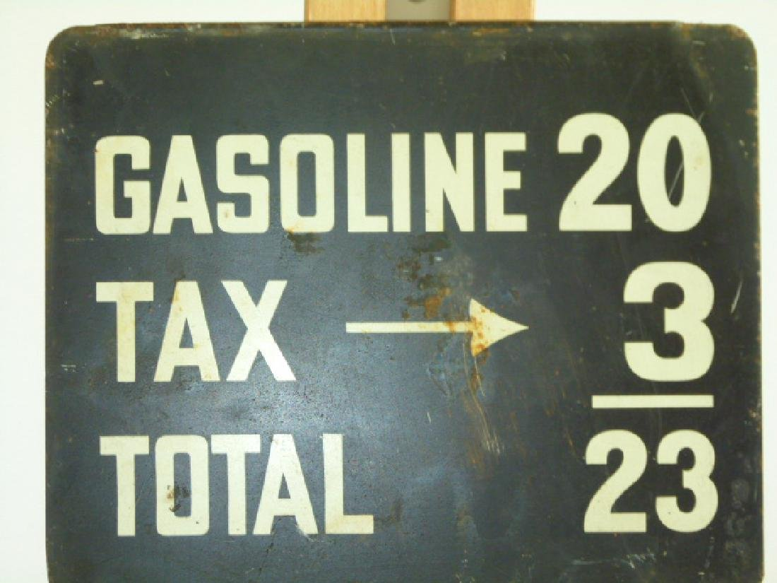 GASOLINE FEE SIGN 23 CENTS A GALLON, C. 1940/50