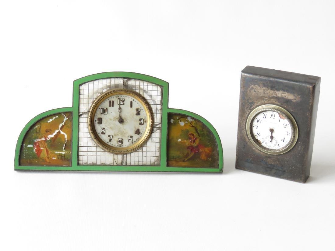2 ART DECO STERLING/ENAMEL DRESSER/DESK CLOCKS