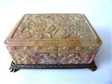 CHINESE SOAPSTONE BOX SIGNED NICHOLAS HADDON