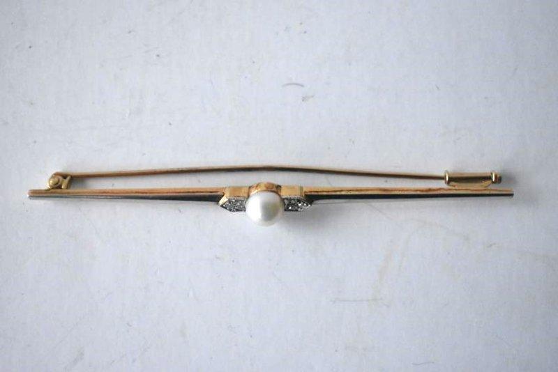 14KT YELLOW/WHITE GOLD/DIAMOND BAR PIN, C. 1920