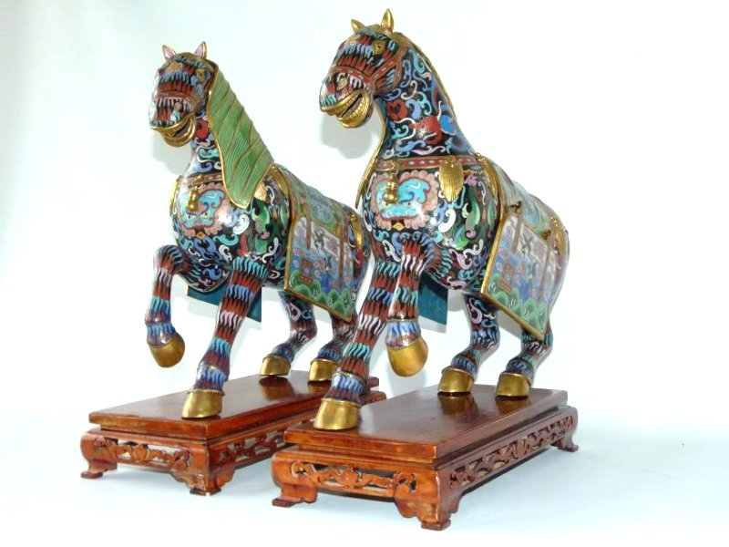 PAIR CHINESE CLOISONNE WARRIOR HORSES ON TEAK STANDS