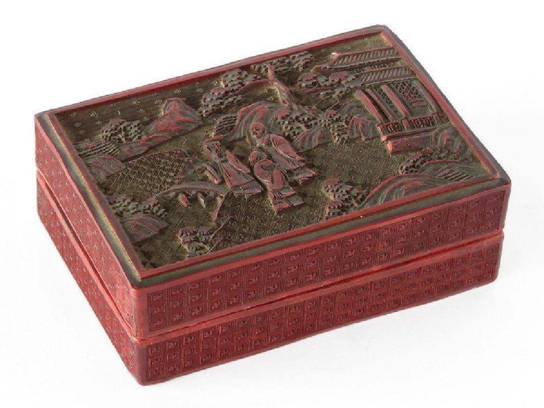 CHINESE CINNABAR DRESSER BOX 19TH C.