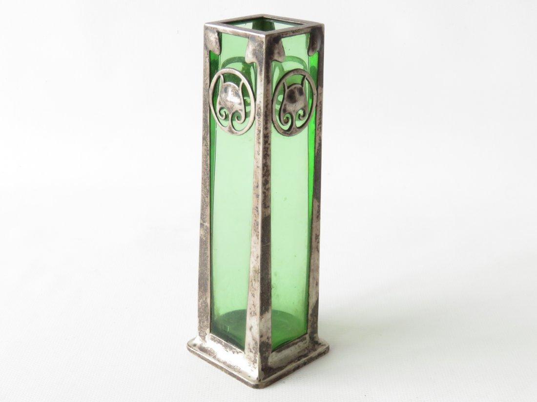 SILVER OVER ART GLASS BUD VASE SIGNED/HALLMARKED