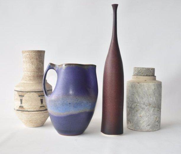 LOT (4) MODERN  ART POTTERY VASES/PITCHER 20TH C