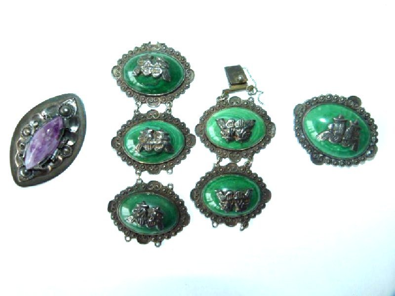 3 EARLY MEXICAN SILVER BRACELET W/ 2 BROACHES