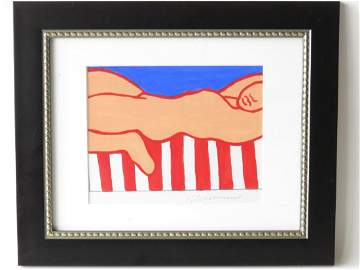 """PAINTING FOR AMERICAN NUDE"" SIGNED WESSELMANN"