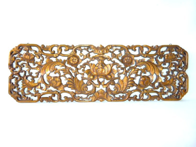 CHINESE CARVED/GILT WOOD PANEL 19TH C.