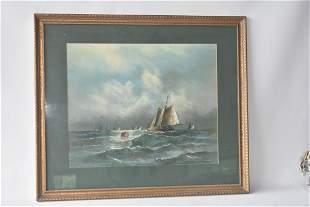 PASTELPAPER ROUGH SEAS SIGNED W DREW 19TH C