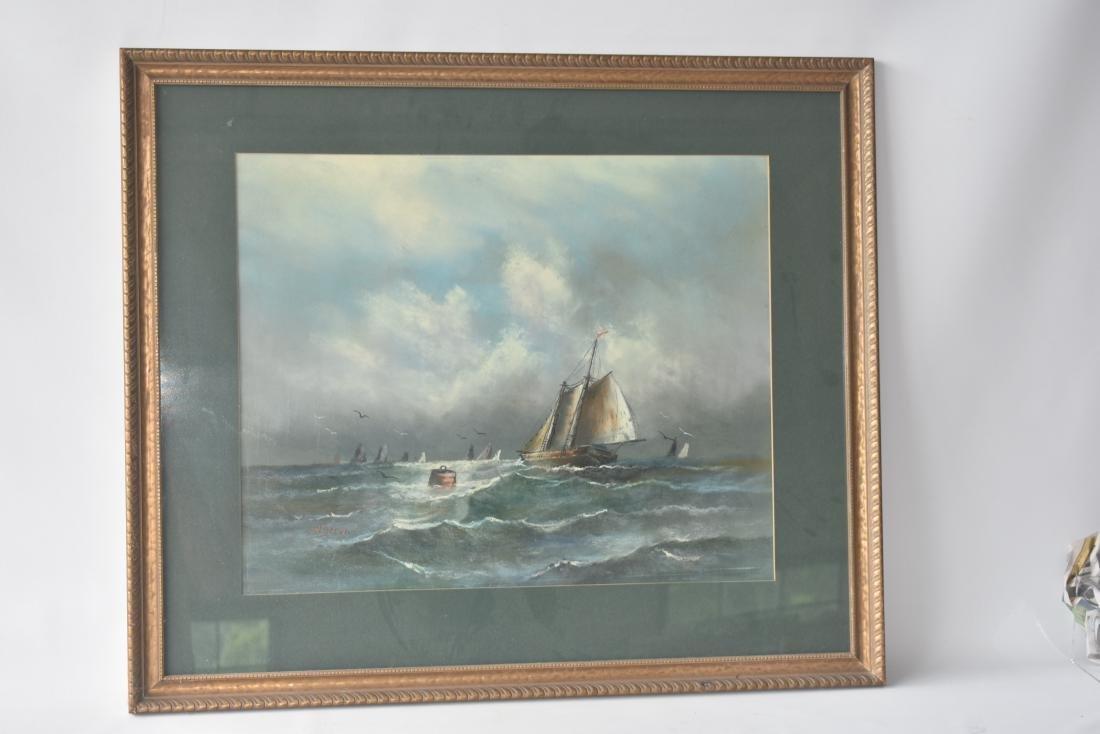 PASTEL/PAPER ROUGH SEAS SIGNED W. DREW 19TH C.
