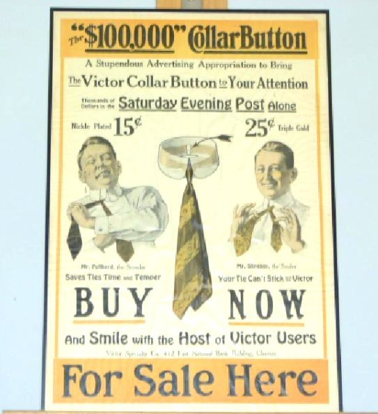 LITHO-PRINT $100,000 COLLAR BUTTON VICTOR SPECIALTY