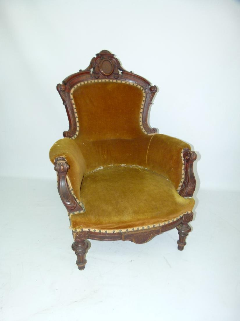 VICT. CARVED WALNUT/INLAID PARLOR CHAIR, C. 1880