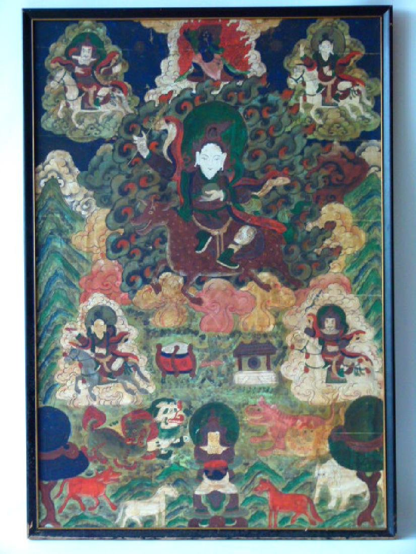 GOUACHE/CANVAS TIBETAN SCENIC BUDDHA 19/20TH C.
