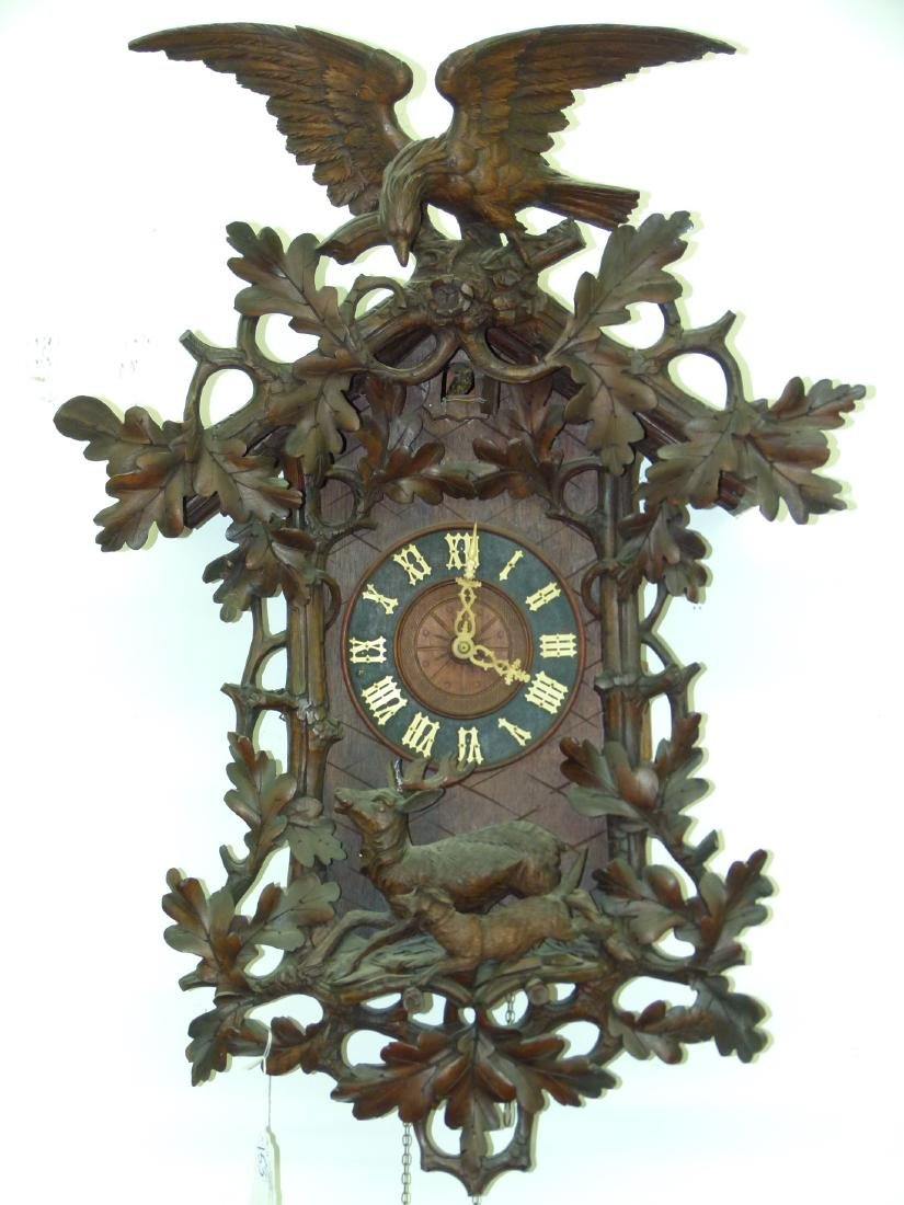 BLACK FOREST CARVED WALNUT COO-COO CLOCK