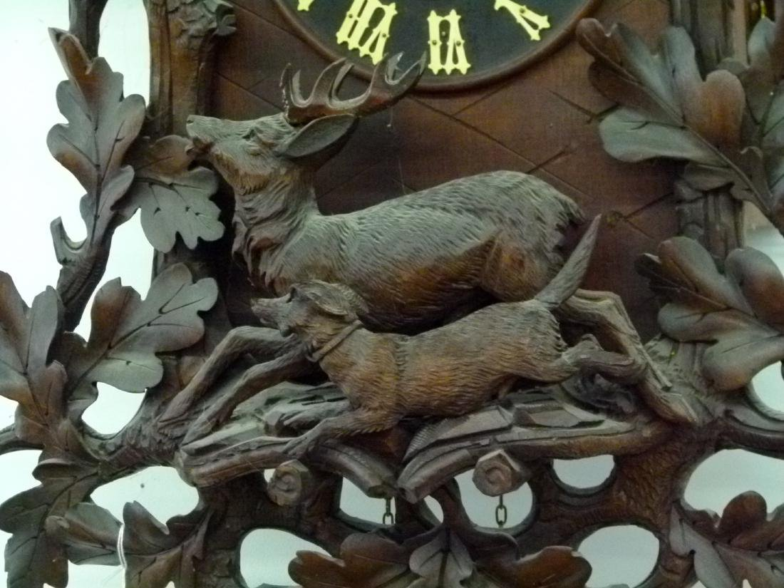 BLACK FOREST CARVED WALNUT COO-COO CLOCK - 2