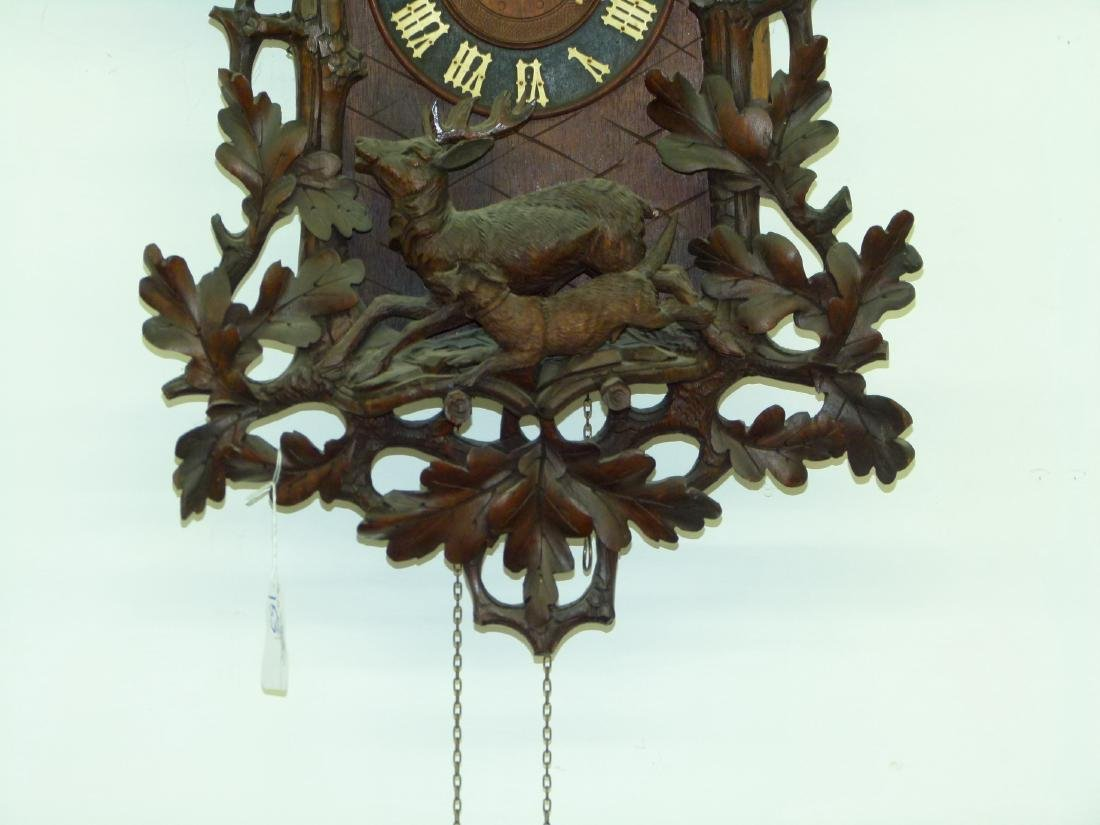 BLACK FOREST CARVED WALNUT COO-COO CLOCK - 4