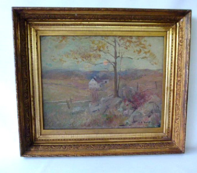 """O/C 'THE HUNTERS CABIN"""" SIGNED C.R. BACON"""
