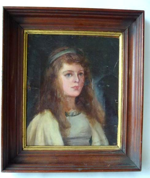 O/C PORTRAIT OF YOUNG GIRL B.M. DAVIS 19TH C.