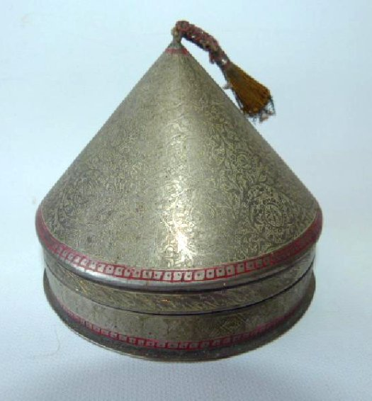 PERSIAN ENGRAVED NICKEL SILVER COVERED BOX