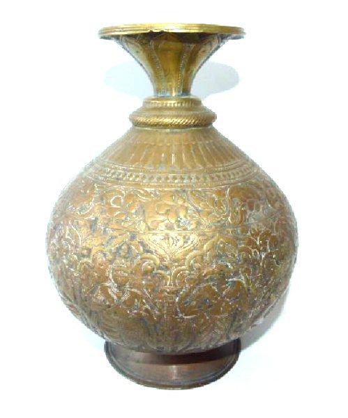 PERSIAN REPOSSE BRASS VESSEL 19TH C.