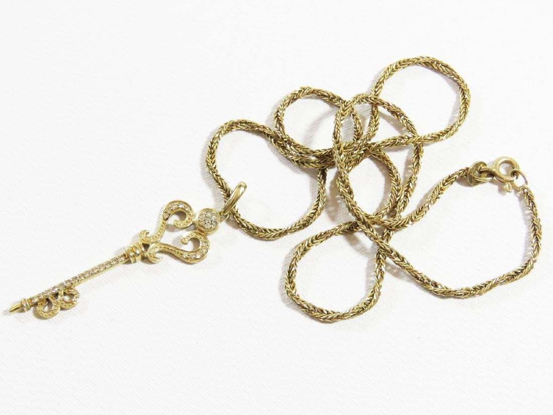 14 KT. YELLOW GOLD/DIAMOND KEY NECKLACE
